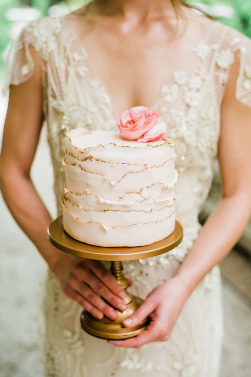 photography:   Megan Harris Photography    Our  Simply Cake Stand in Antique Gold  is perfect for this blush and gold deckled edge wedding cake by  The Cake Studio, Baltimore