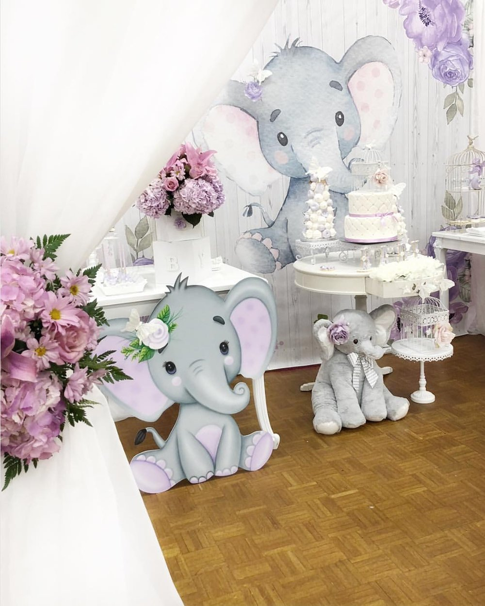 opulent treasures white chandelier square cake stands elephant baby shower.jpg