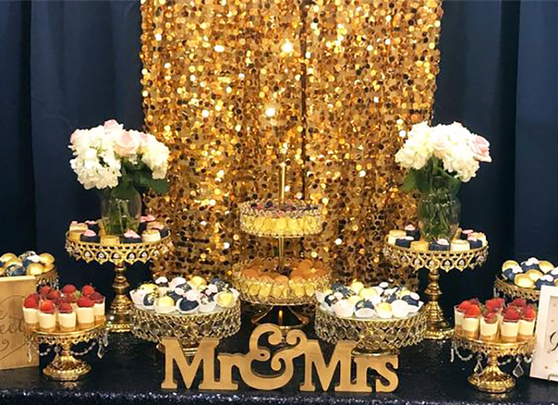 shiny gold cake stands dessert table.jpg