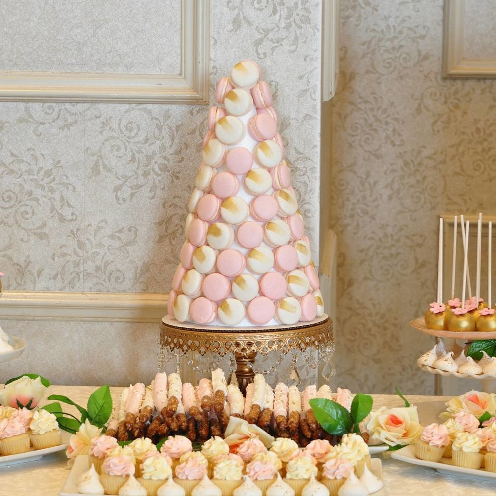 macaron tower on opulent treasures gold cake stand.jpg