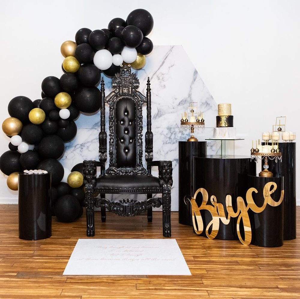 black gold party throne chair dessert table cake stands.jpg