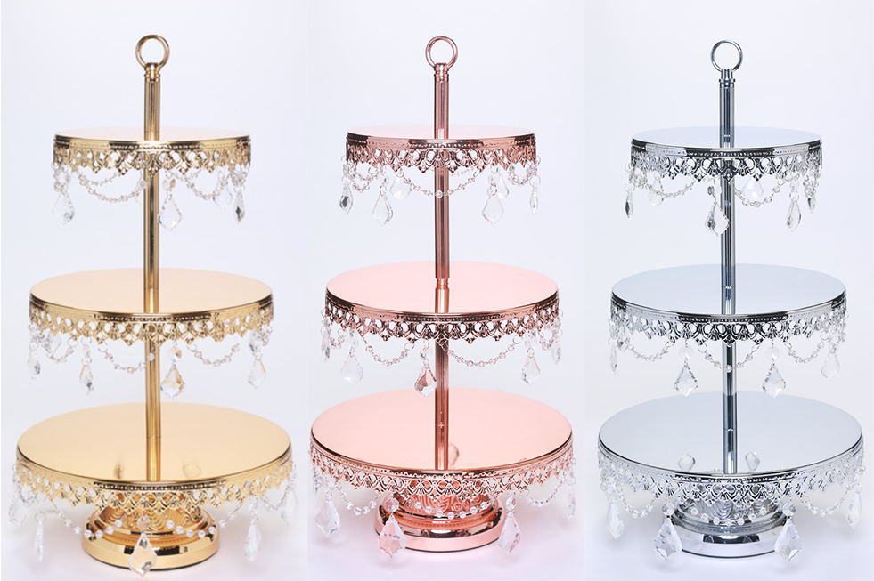 Opulent Treasures Metallic Chandelier 3 Tier Dessert Stand