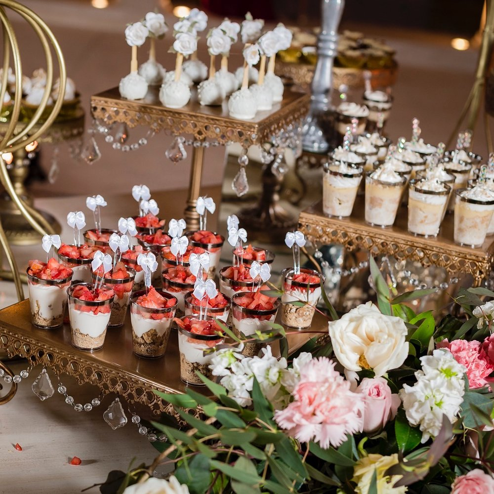 Dessert Table by  Blue Chocolat by Hazar  with  Opulent Treasures  Antique Gold Cake Stands