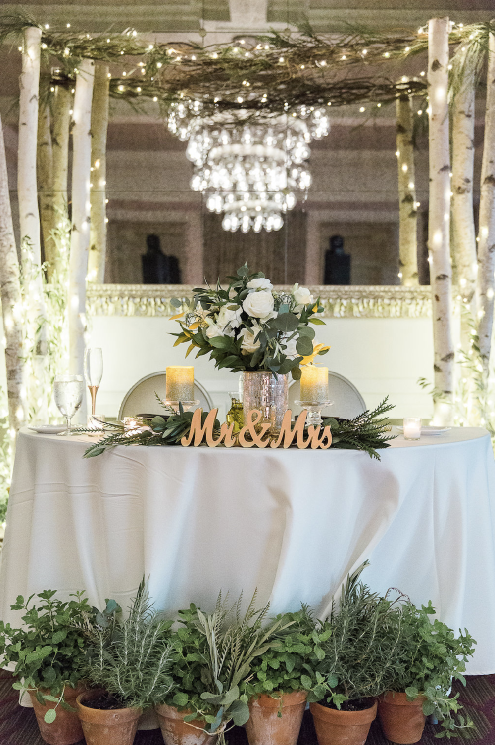 Elegant Natural Organic Wedding Sweetheart Table with Florals by  Braun's Fine Flowers