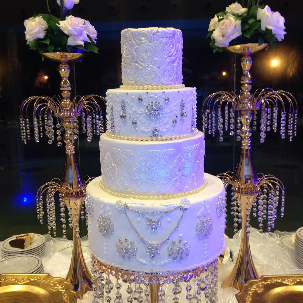 wedding cake by hazarvargas gold jeweled cake stand by opulent treasures.jpg