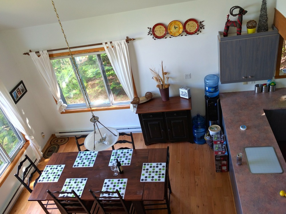 Loft view of the dining area for six people