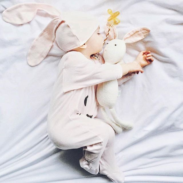 Sweet dreams are made of these... 😍 Beautiful Willow in our pale rose bunny set - A treasure keeper! Hoppy bunny set available in three colors -limited amount left! at petitpatch.com // 📷 @sarah_pounds 💗🐰