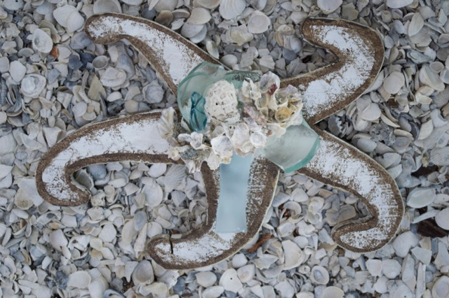 "Beach Art - Large Curly Star Fish - wood, glass, shells - 1"" thick, 10"" wide - $24"