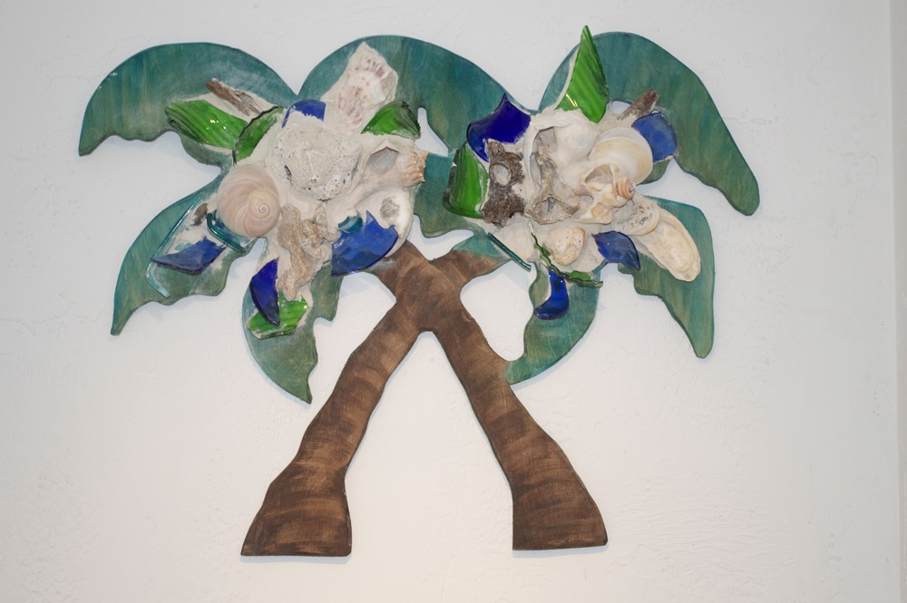 "Beach Art - Double Palm - wood, glass, beach objects - 25"" x 20"" - $149"