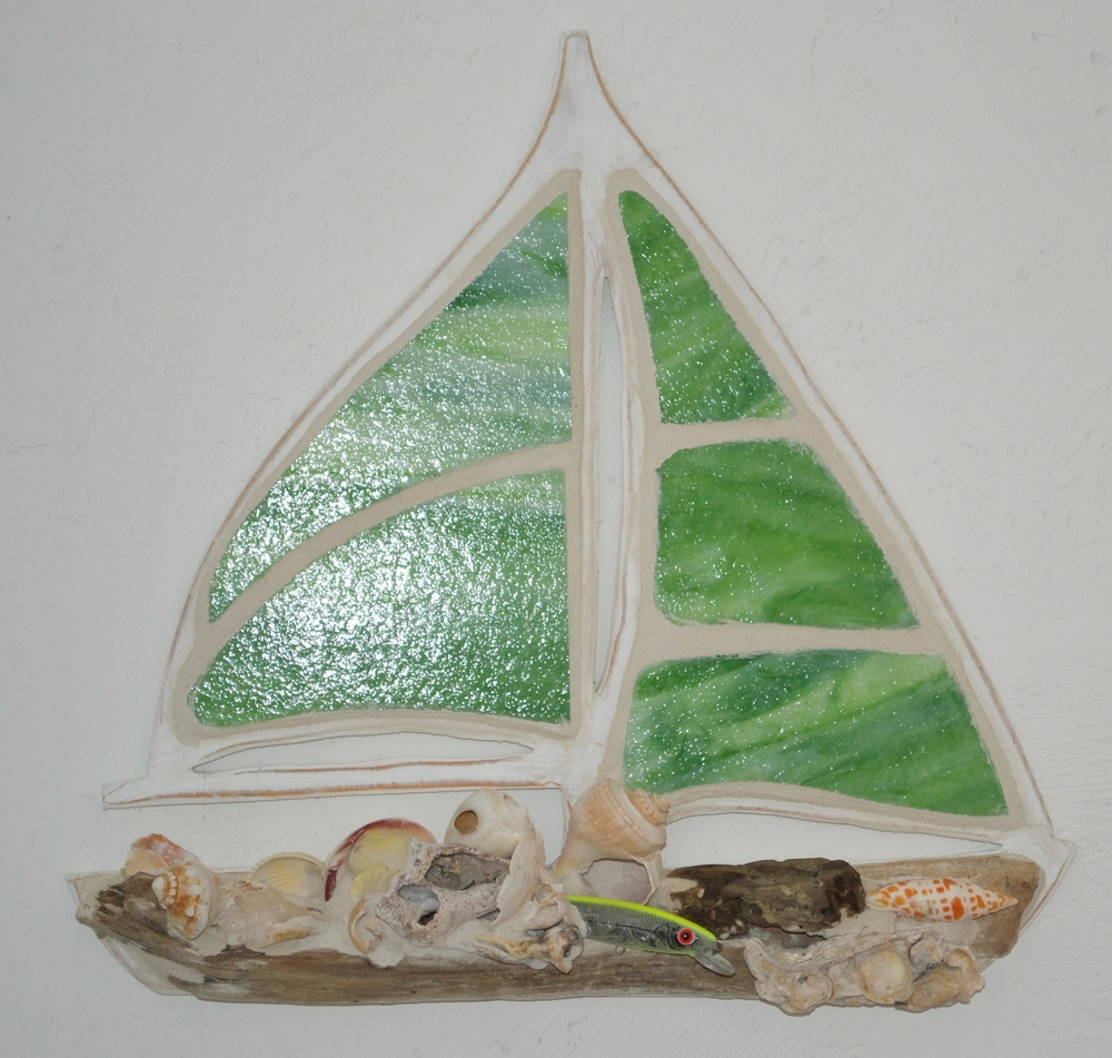 "Beach Art - Sailboat - wood, stained glass, beach objects - small 11"" x 12"", large 21"" x 19"" $149"