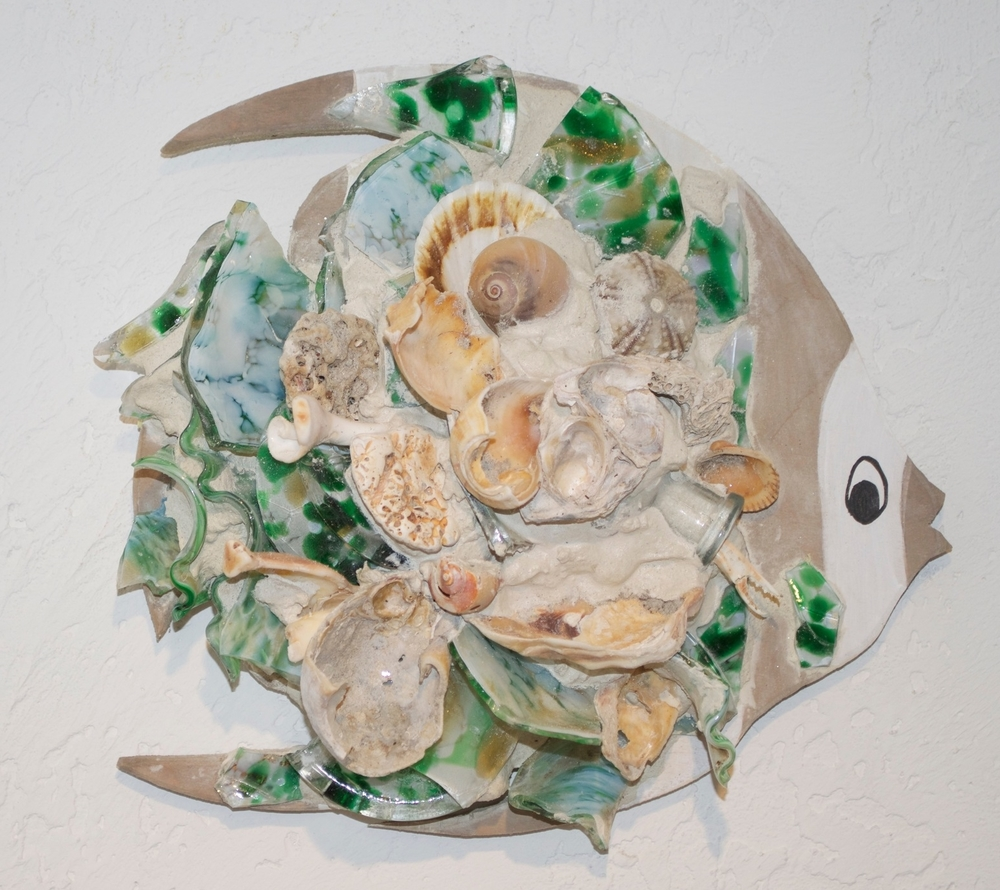 "Beach Art - Angel Fish - wood, glass, shells - med. 10"" x 10"", $45, large 14"" x 16"", $84"