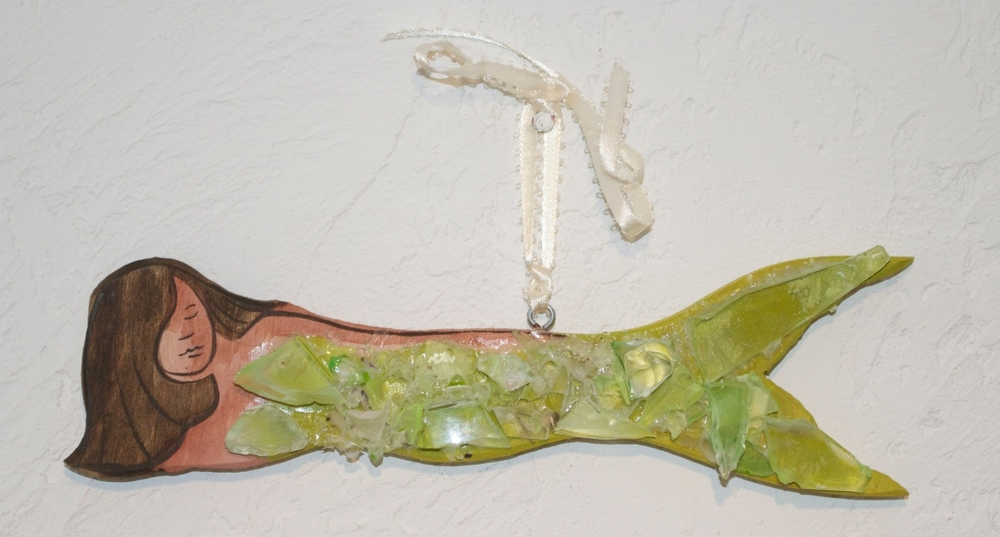 "Beach Art - Mermaid hanging - wood, glass - 9"" x 2-1/2"" - $24"