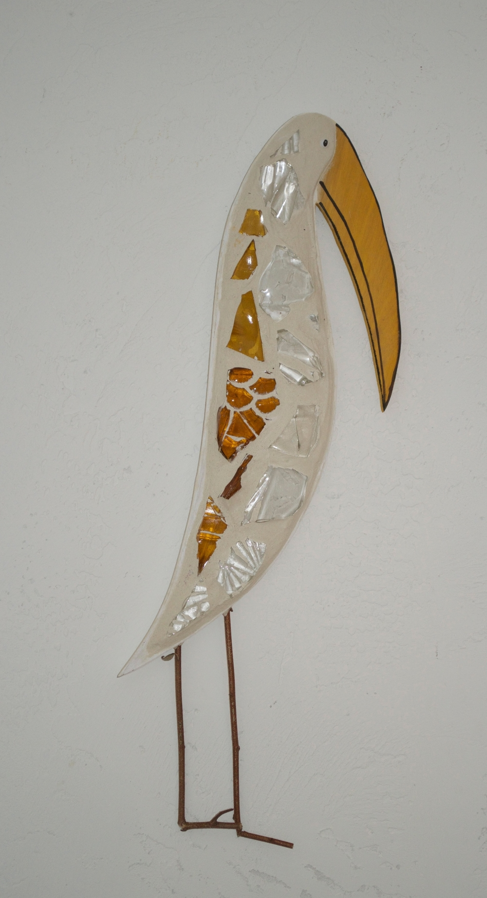 "Beach Art - Wood Stork - wood, glass, twigs - 7"" x 28"" - $85"