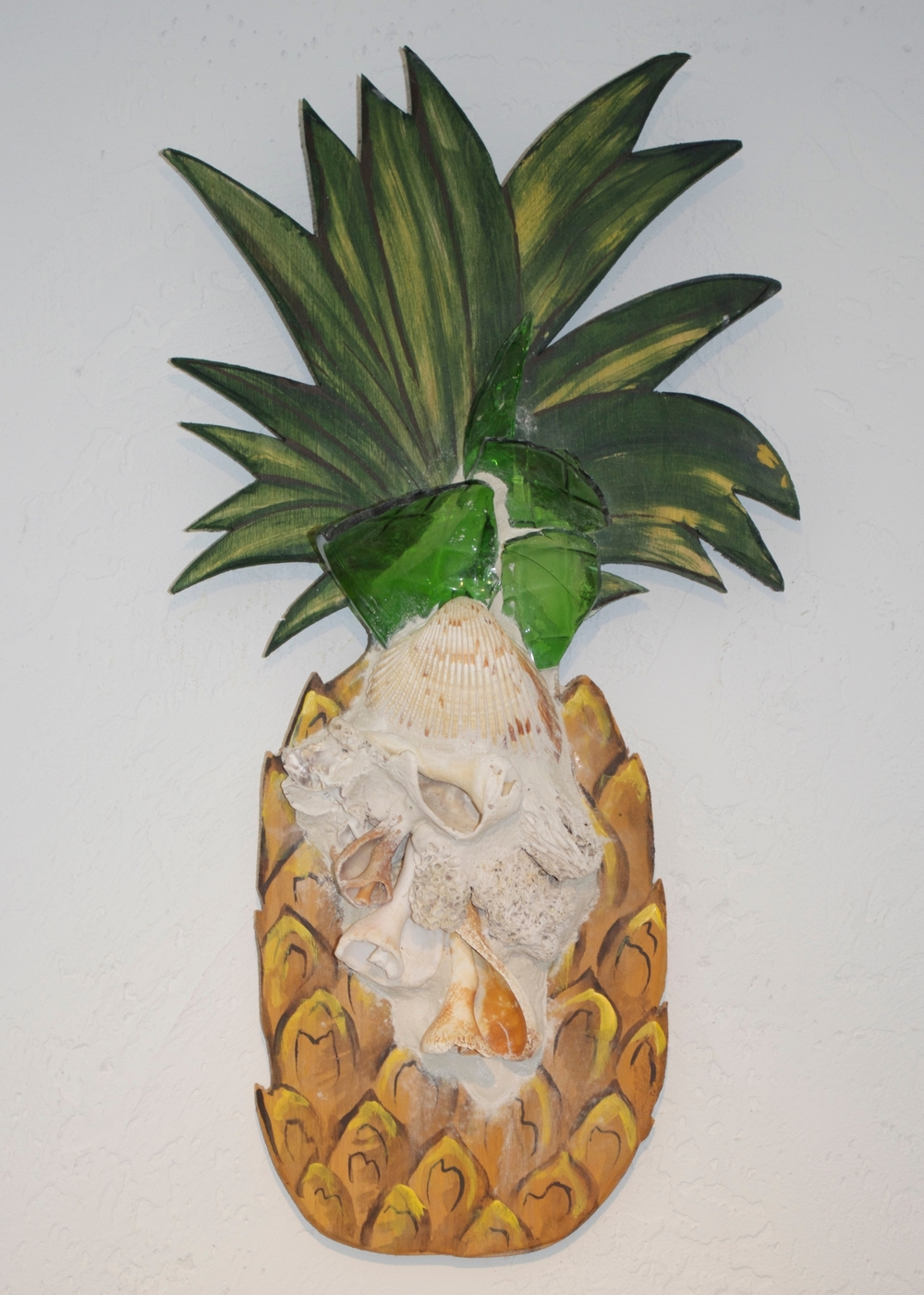 "Beach Art - Pineapple - wood, glass, shells - sm. 6"" x 11"", $44, large 9"" x 21"", $75"
