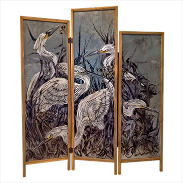 Mischievous Egrets - acrylic on tin, pinewood frame - SOLD