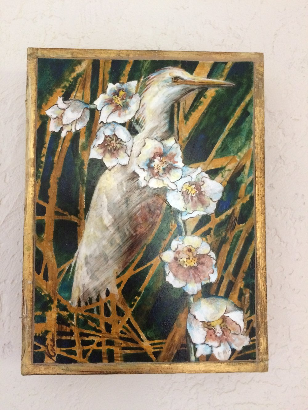 "Juvenile Heron in Marsh Flowers stone painting in vintage Florentine box 6 1/2 "" x 9 1/2 "" SOLD"