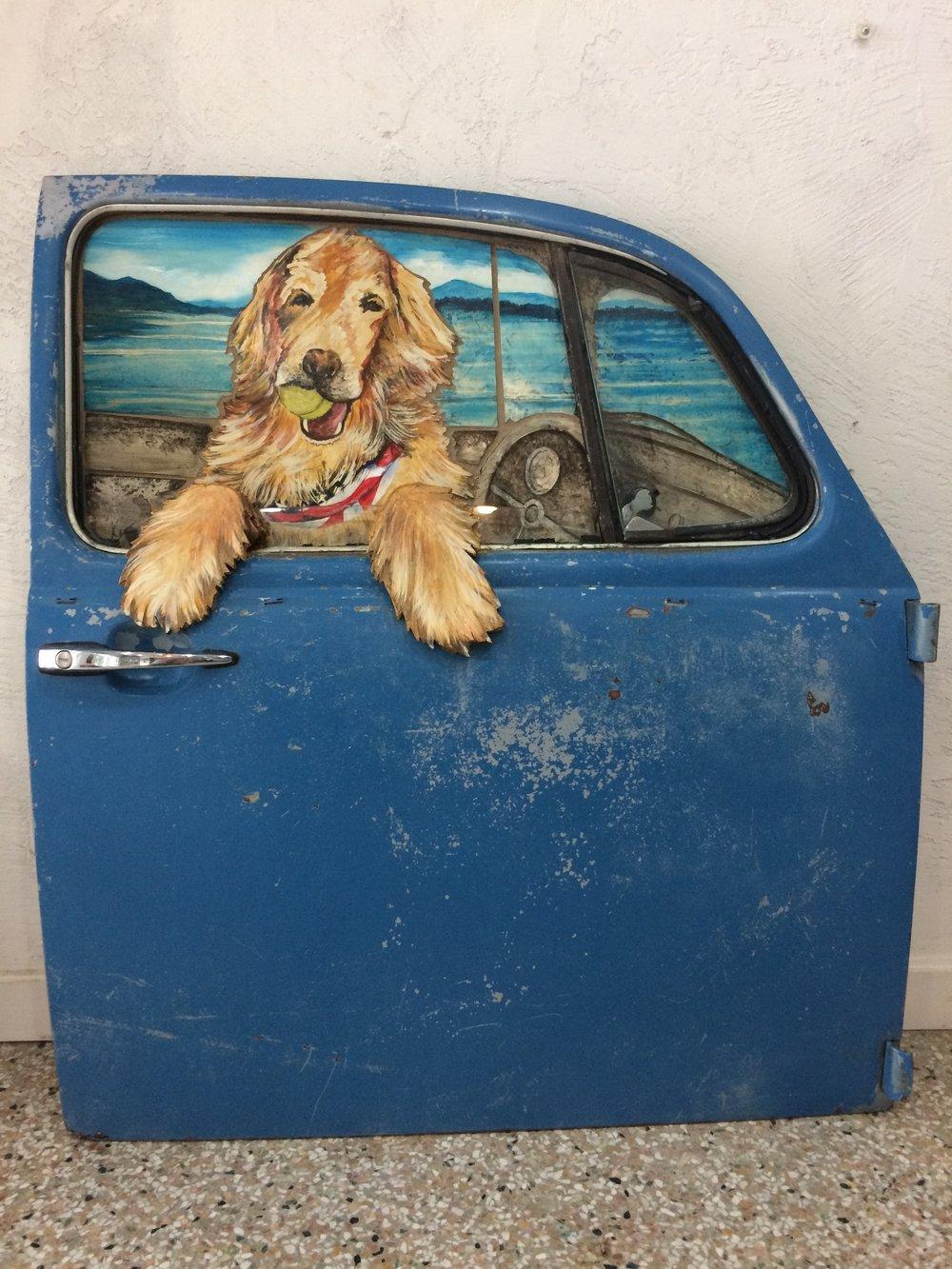 Reagan, golden retriever in vintage VW 1970's door, SOLD