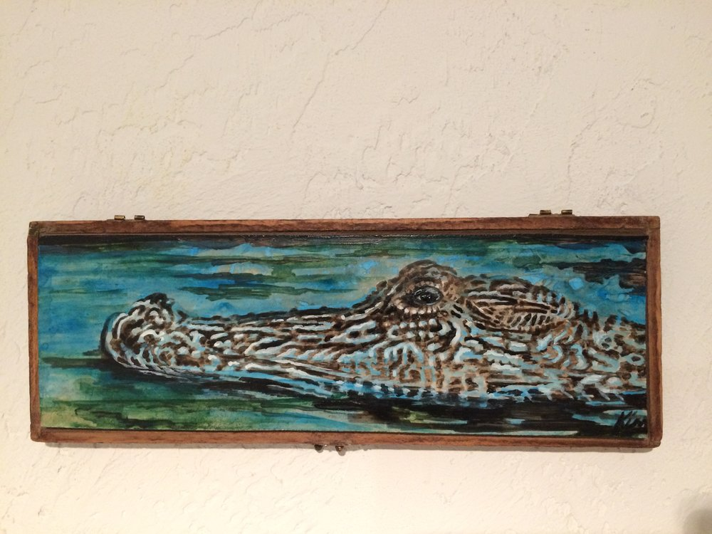 """Alligator on Water, in vintage wooden box, 12"""" x 4 1/2"""" SOLD"""