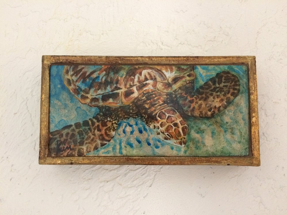 """Loggerhead in Shallow Water, stone painting in vintage Italian box , 8"""" x 4"""" SOLD"""