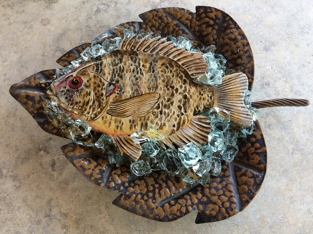 """Red Ear Sunfish stone painting in recycled tin leaf on glass ice, 18"""" x 13"""" SOLD"""