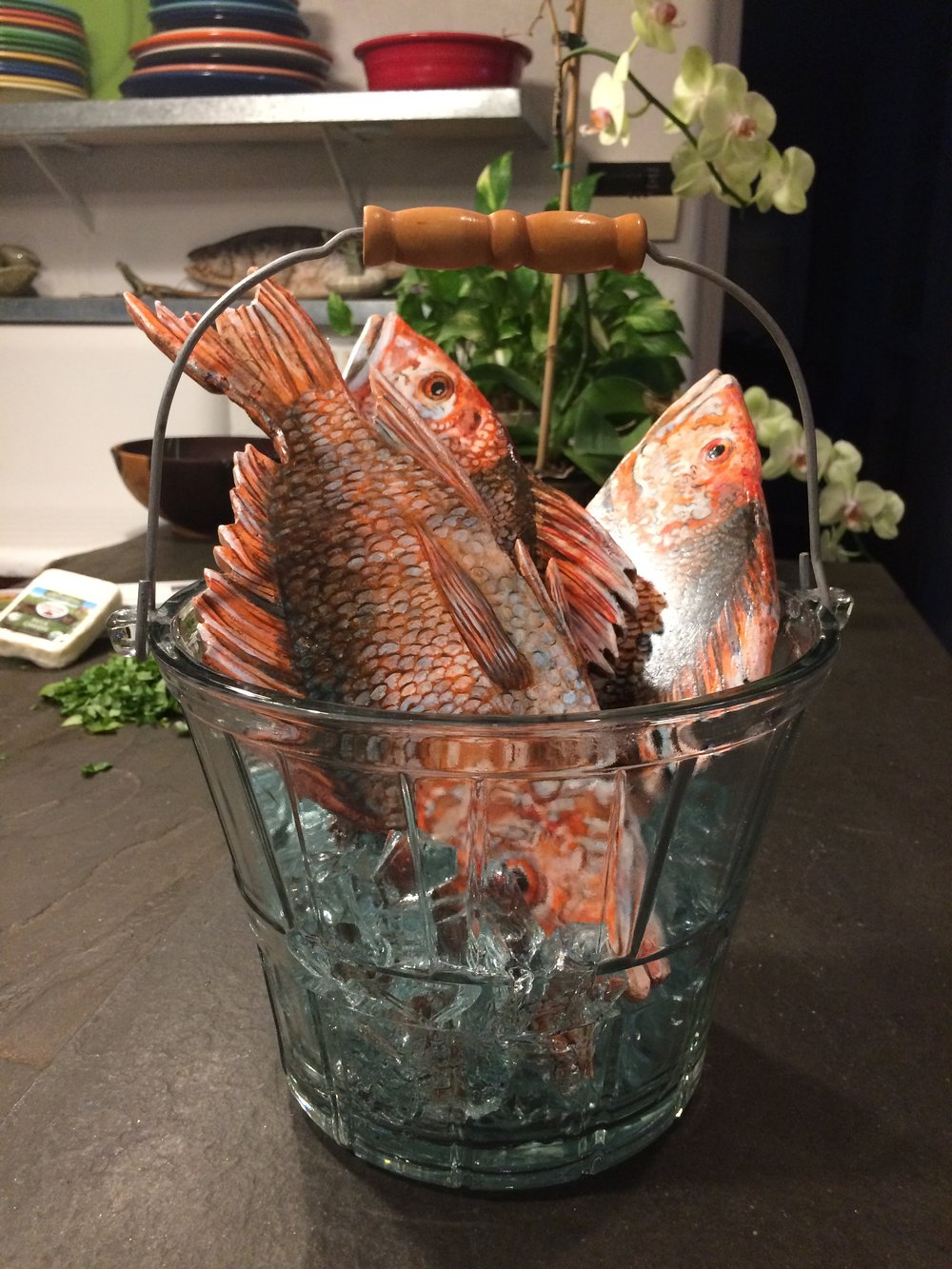 """Three Snapper in a Glass Bucket on glass ice, stone painted fish, 11"""" wide x 12"""" tall x 11"""" deep SOLD"""