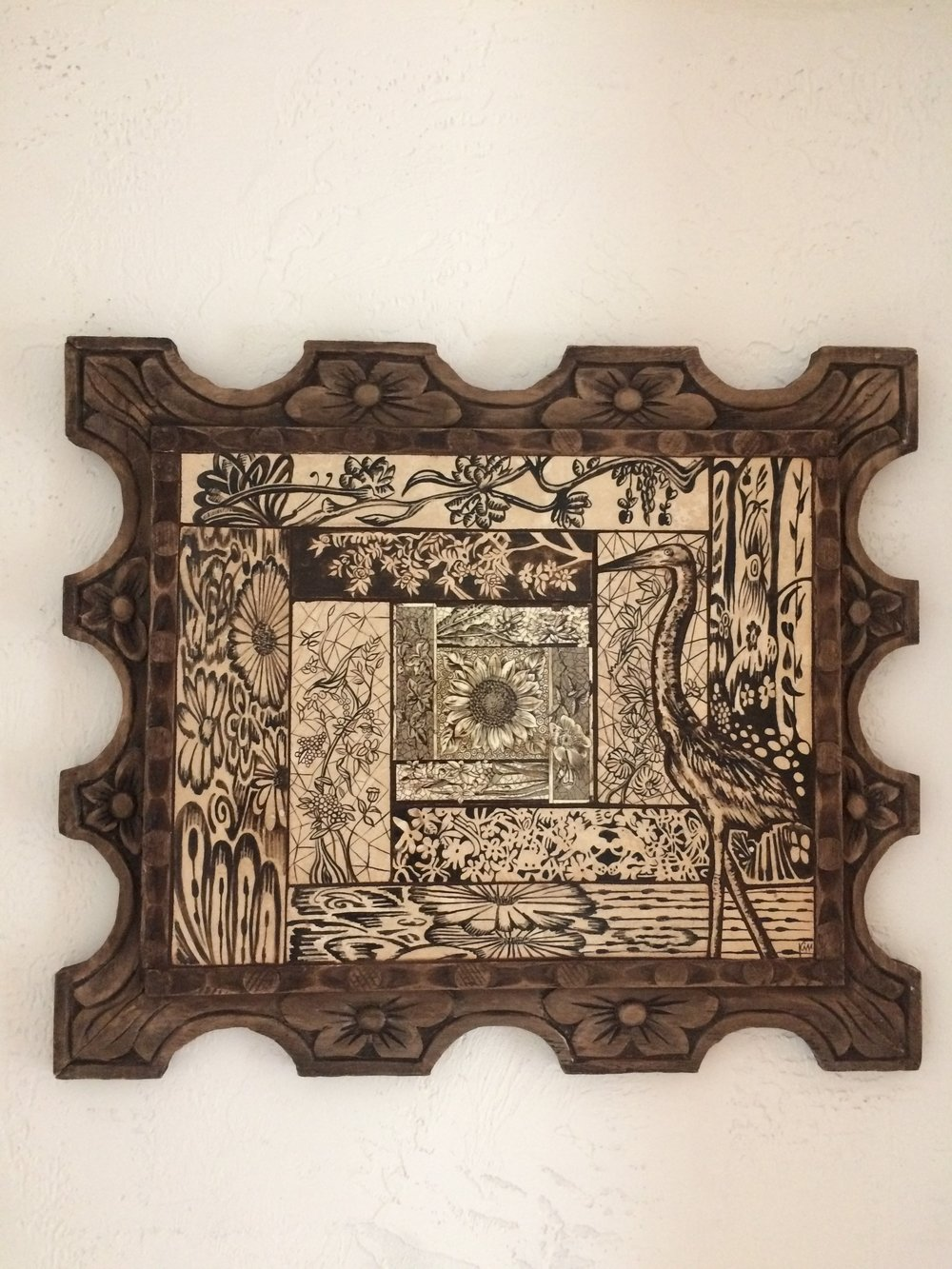 """Algonquin, stone painted mosaic in vintage hand carved wood frame 26"""" x 22""""SOLD"""