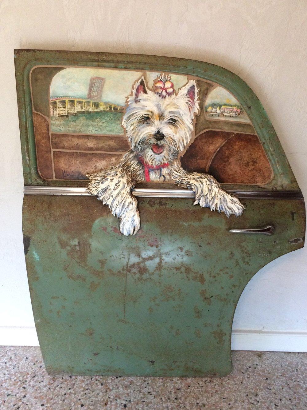 Stella, west highland terrier, stone painted mosaic in vintage 1951 Plymouth 4 door sedan, SOLD