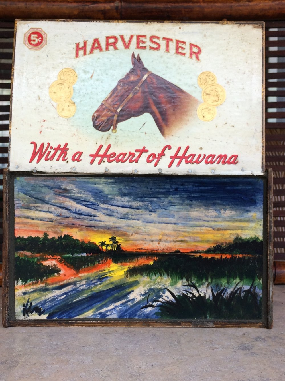 Heart of Havana, stone painting in vintage wooden cigar box  SOLD