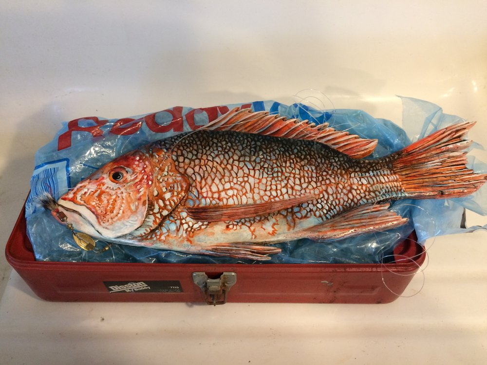 Red Snapper stone painting - SOLD