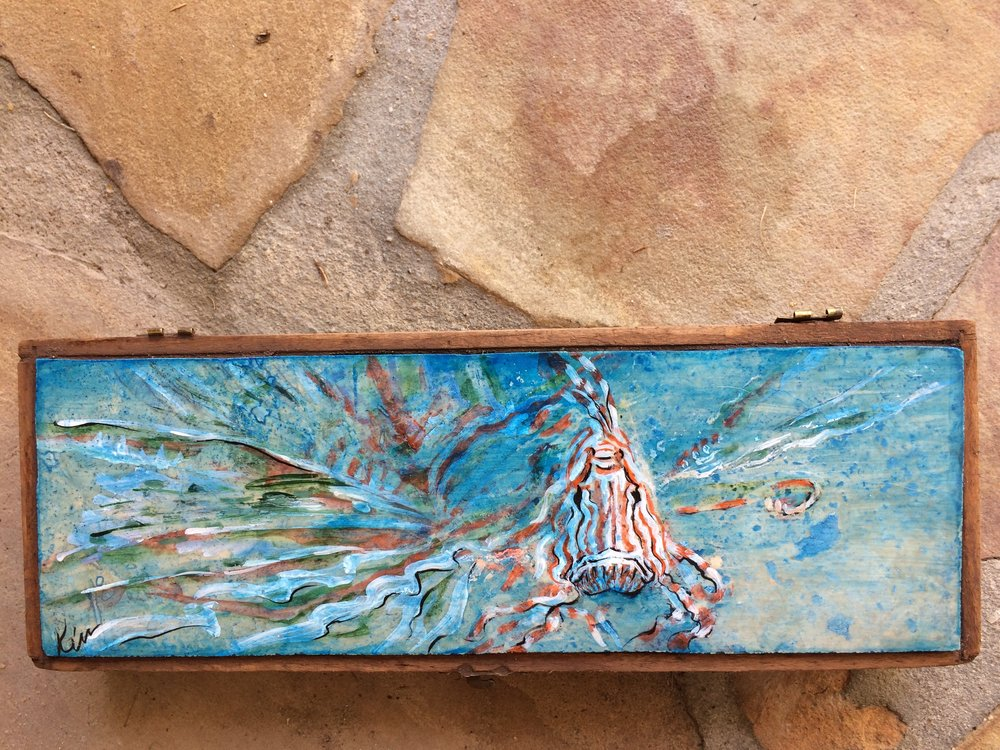 "Lion Fish..stone painting in vintage wood polythorpe box, 11 1/2 "" x 4"""