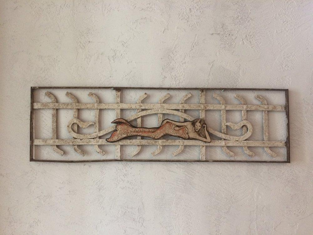 "Copper Mermaid..stone painting on vintage rod iron , 39"" x 12"""