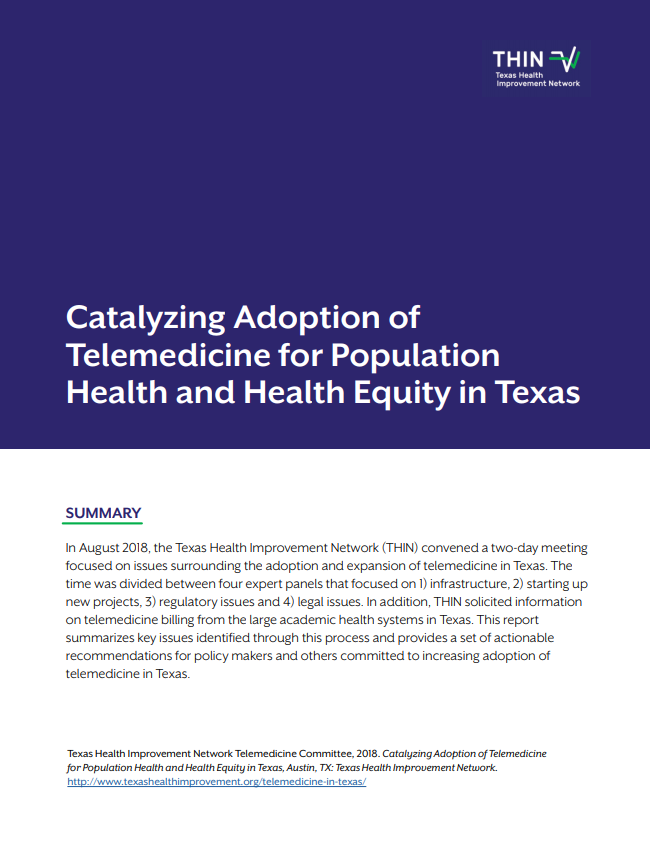 Download  Catalyzing Adoption of Telemedicine for Population Health and Health Equity in Texas