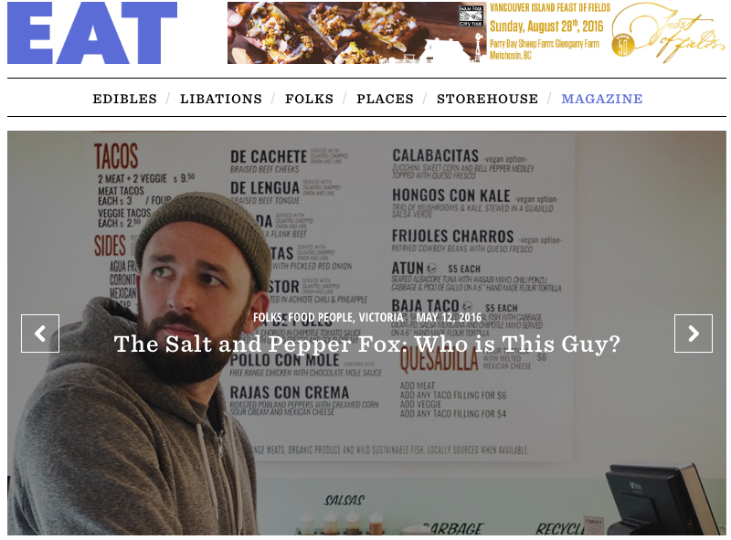 A feature story for Eat Magazine (print edition) about The Salt and Pepper Fox, who he is and what he thinks about the food scene...