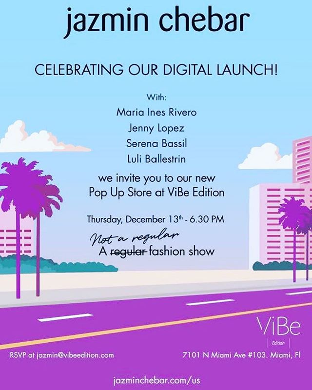 Save the date... the countdown is on... December 13th at 6.30 pm Jazmin Chebar will be landing at VIBe to open her first Pop Up in Miami!!! And we couldn't be happier 🌈💕❤️😀🌸