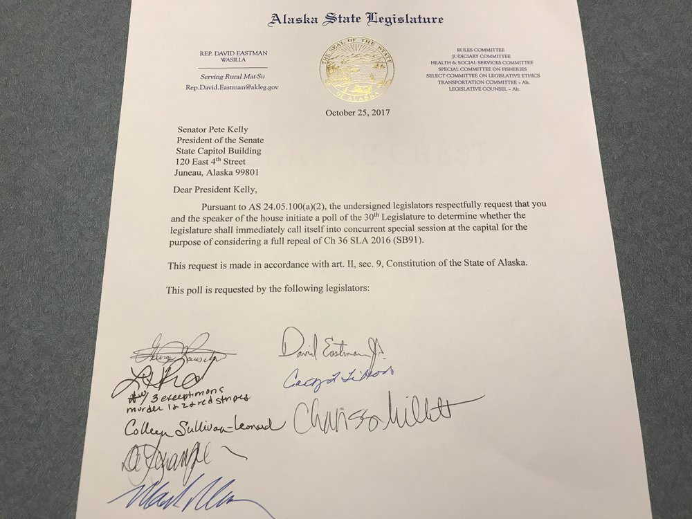 The legislators who have already signed one or the other of the two letters include:  Sen. Mike Dunleavy Sen. David Wilson Sen. Shelly Hughes Sen. Mia Costello Rep. George Rauscher Rep. David Eastman Rep. Lora Reinbold Rep. Colleen Sullivan-Leonard Rep. DeLena Johnson Rep. Mark Neuman Rep. Cathy Tilton Rep. Charisse Millett