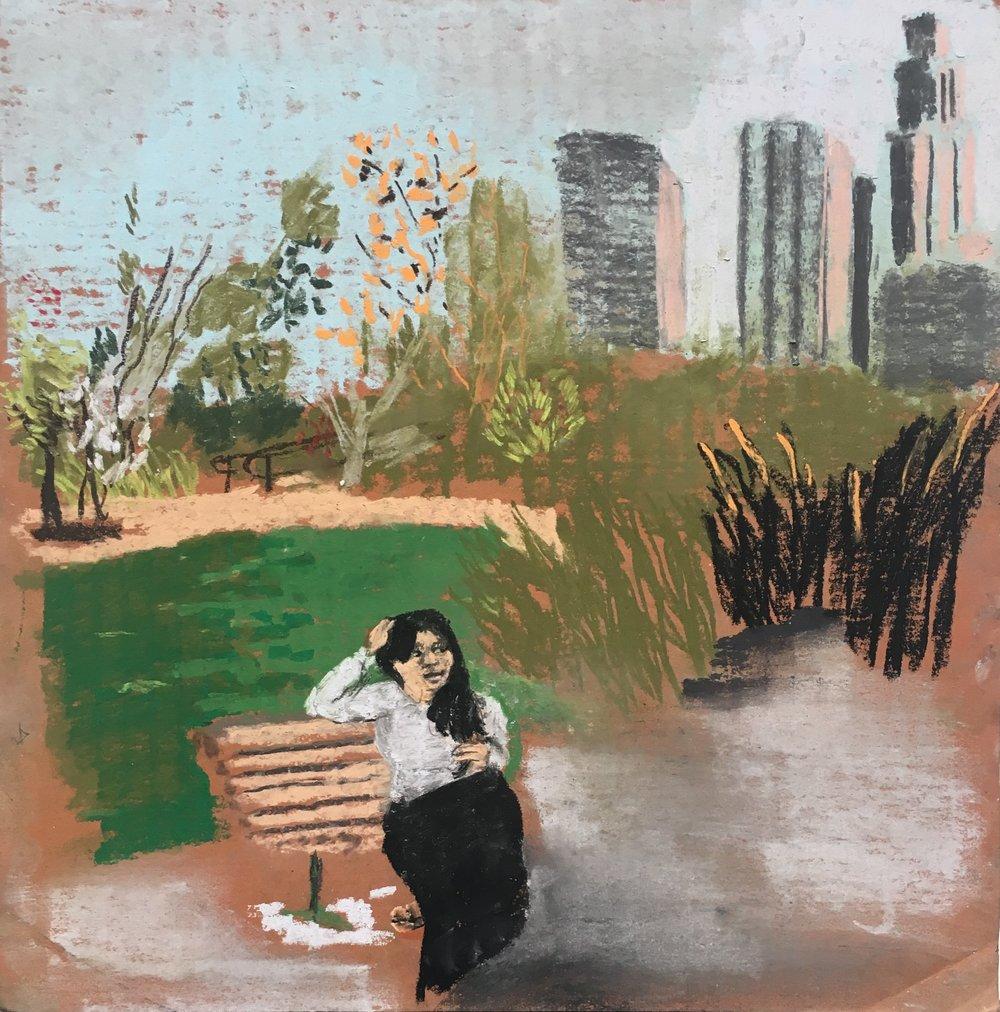 Poet Ingrid Calderon in Vista Hermosa Park, Los Angeles, CA.