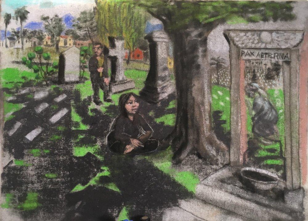 Ingrid and Jason at Calvary Cemetery, East LA