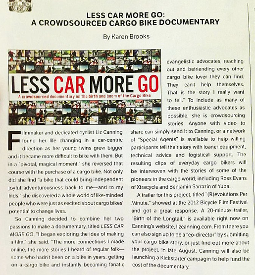 Wheel News,  Less Car More Go: A Crowdsourced Cargo Bike Documentary  by Karen Brooks