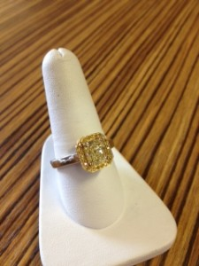 Yellow Diamond Halo Custom-Made Ring