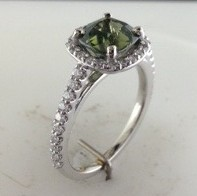 Green Zircon Halo Diamond Ring