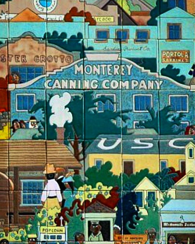 You can find us upstairs in the historic Monterey Canning Company building! Pic from the new beautiful tile mural at the Monterey Conference Center. #thefoggylantern #monterey #montereyonmetal #montereybay #canneryrow #artgallery #montereyart
