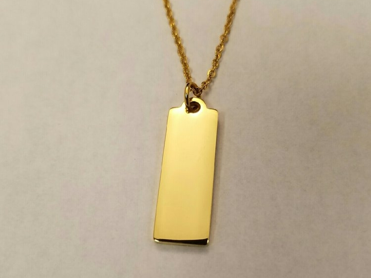 "Tag Necklace Gold    Plated stainless steel    18"" chain    MSRP $28"