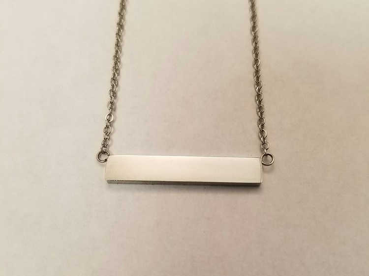 "Bar Necklace Silver    Stainless steel    16"" chain    MSRP $28"