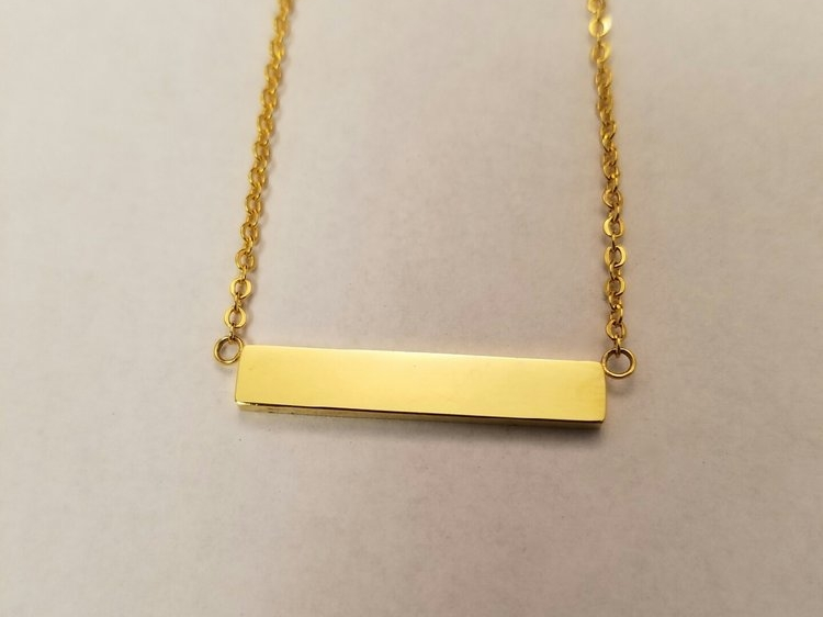 "Bar Necklace Gold    Plated stainless steel    16"" chain    MSRP $28"