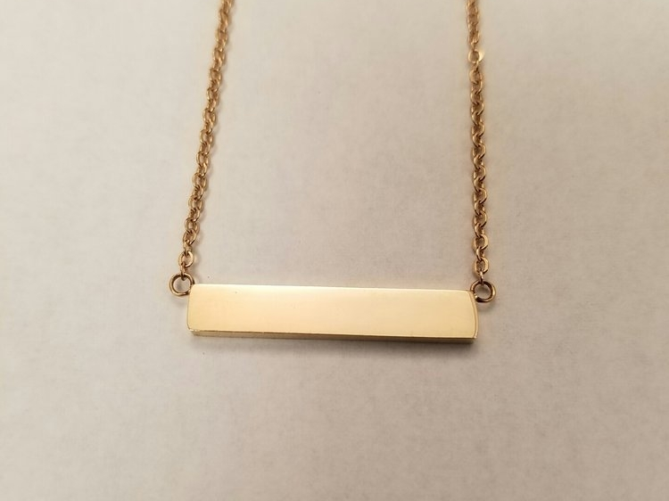 "Bar Necklace Rose Gold    Plated stainless steel    16"" chain    MSRP $28"