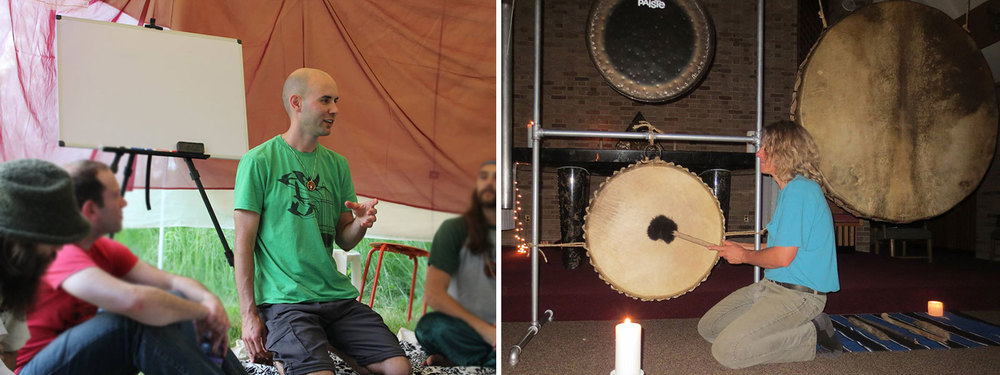Nick Meador leading a workshop and Ool Pardi playing his shamanic drum