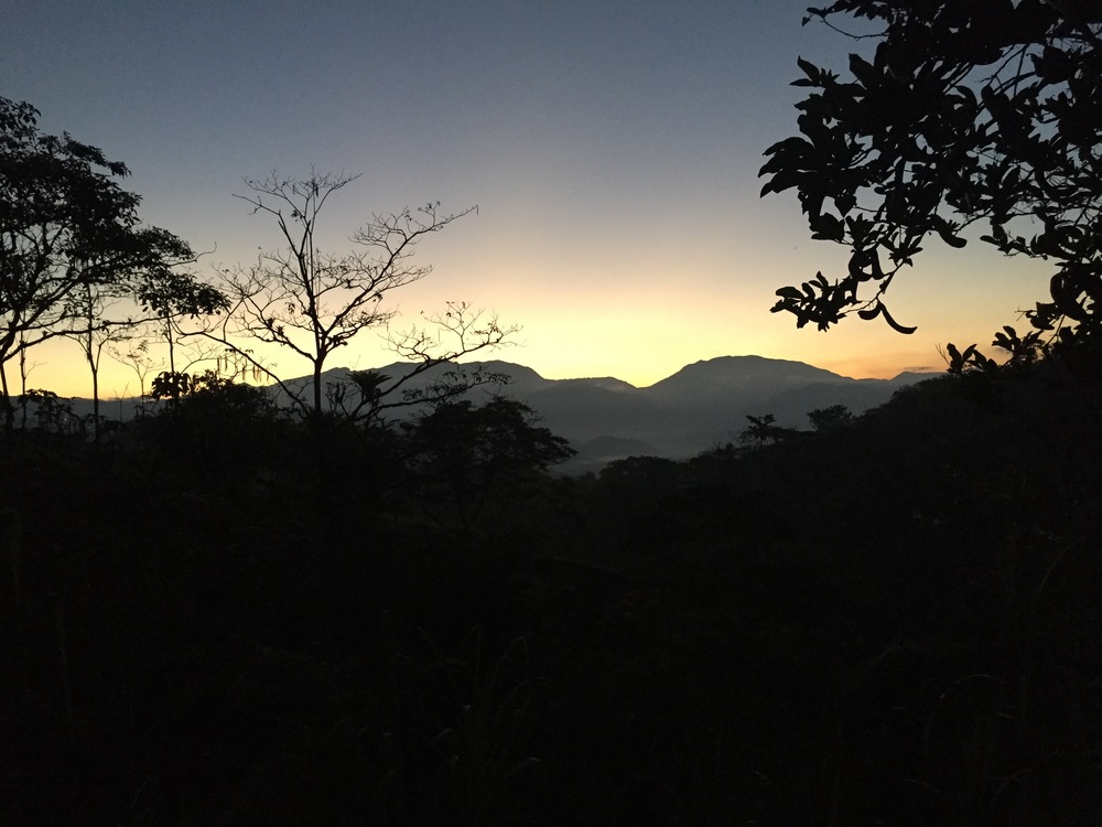 Sunrise over the hills east of La Iguana Chocolate