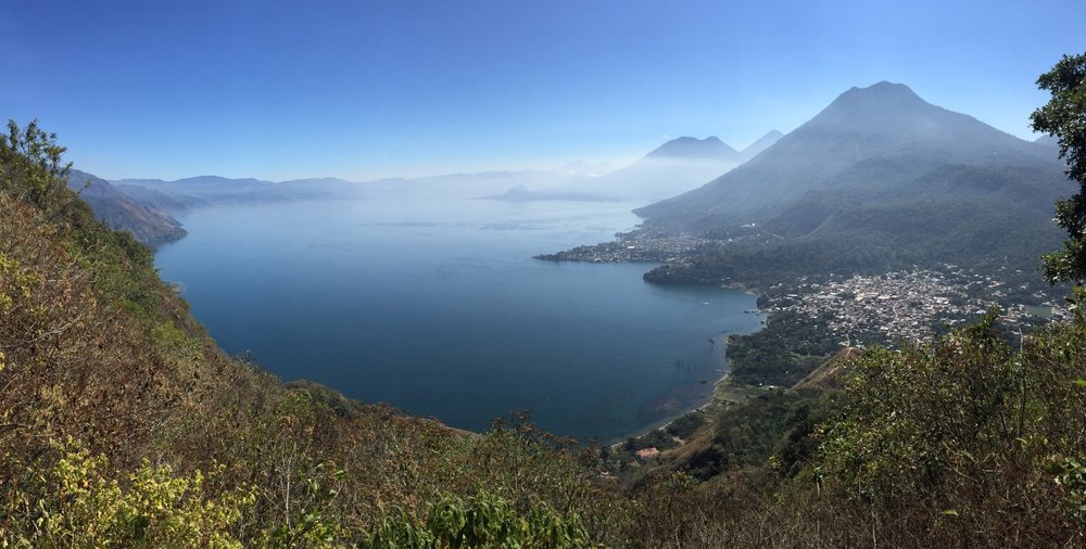 A view of Lake Atitlán, Guatemala, from high up on the Rostro Maya hiking trail.