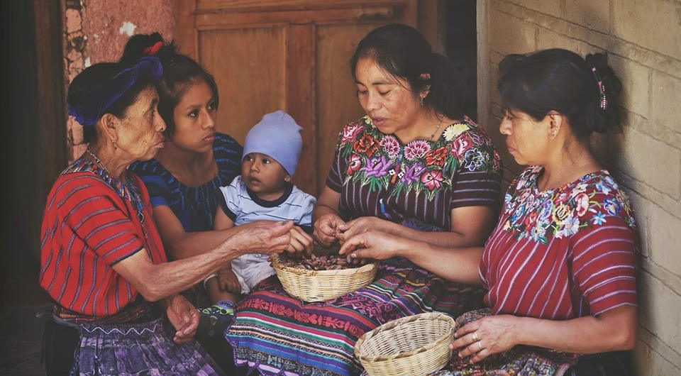 The Ruk'u'x Ulew (pronounced  Roo-koosh Oo-lay-oo ) women's cacao collective in San Marcos la Laguna at Lake Atitlan, Guatemala. Each time Soul Lift Cacao makes a purchase from the collective, 100% of the profits of that sale go back to the Mayan indigenous families who grow and prepare the cacao.