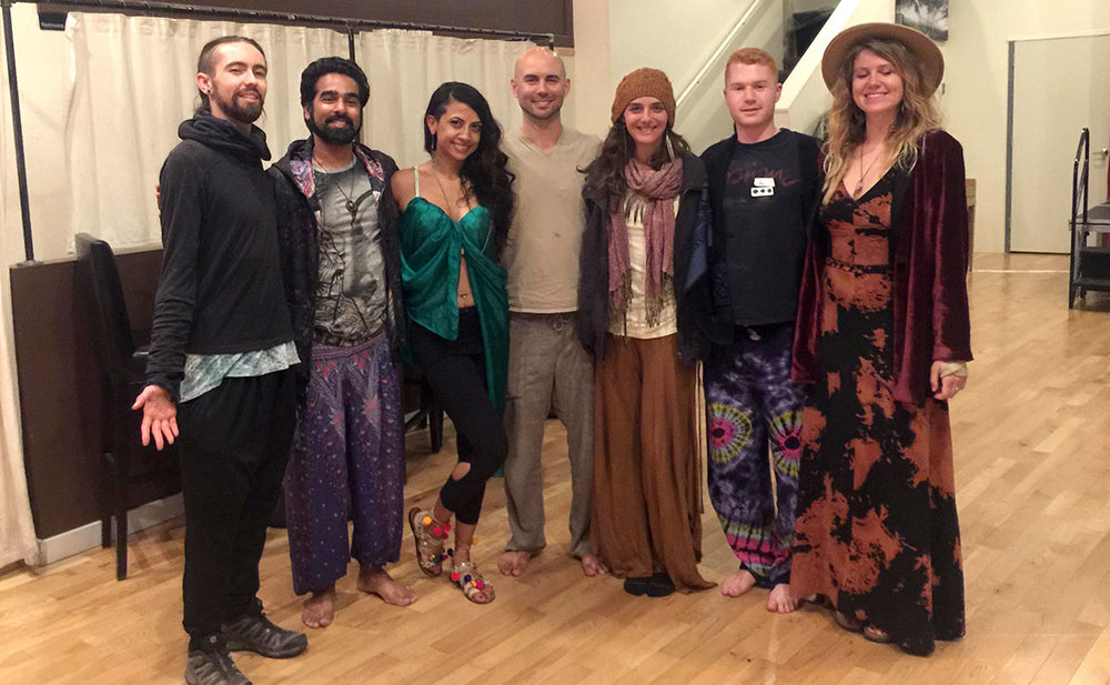 Staff and volunteers at the first-ever New Paradigm Party: Cacao, Consent & Conscious Celebration, Oakland, CA, August 2018